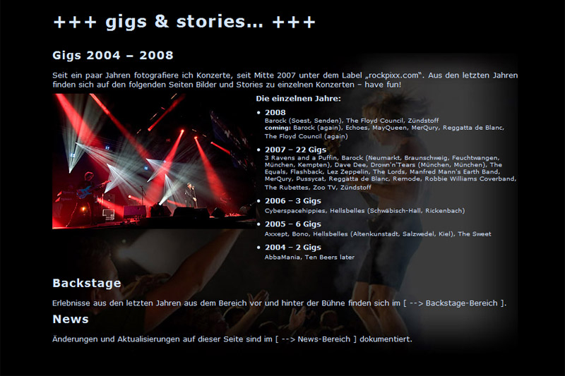 Screenshot rockpixx.com | 2007
