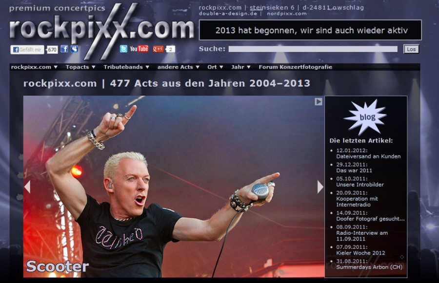 Screenshot rockpixx.com Ende 2009